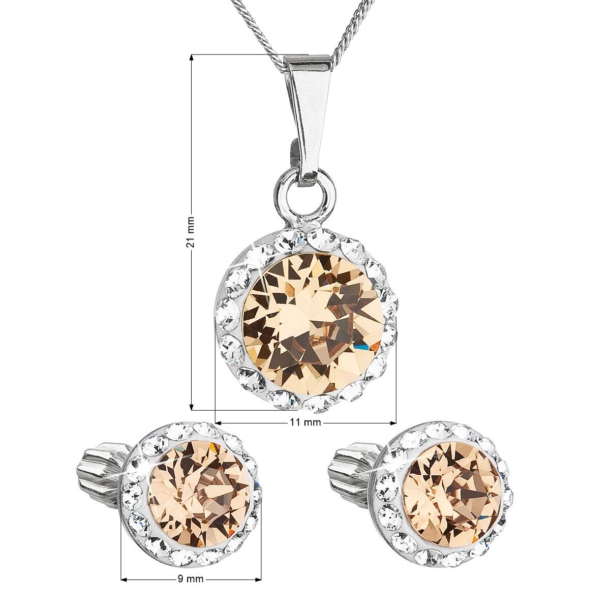 Evolution Group Sada šperků s krystaly Swarovski náušnice, řetízek a přívěsek hnědé oranžové kulaté 39352.3 light colorado topaz