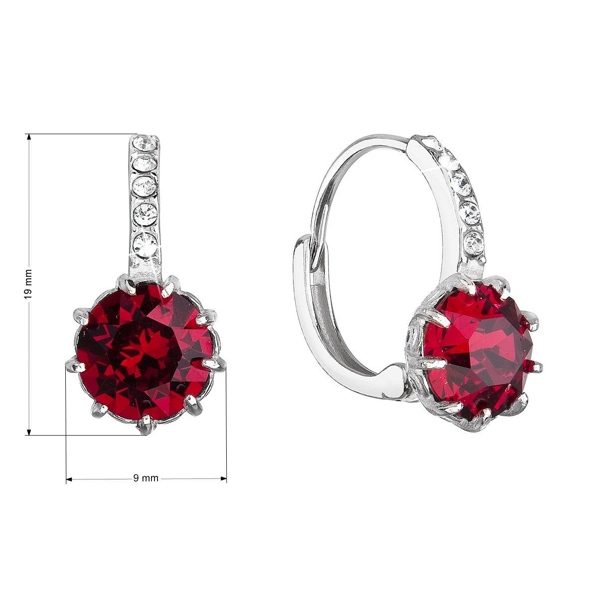 Evolution Group Stříbrné náušnice visací se Swarovski krystalem kulaté červené 31302.3
