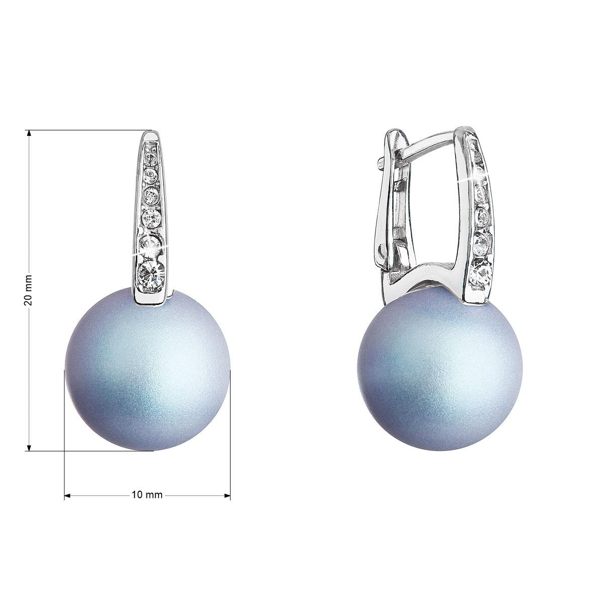 Evolution Group Stříbrné náušnice visací se Swarovski perlou a krystaly 31301.3 světle modré