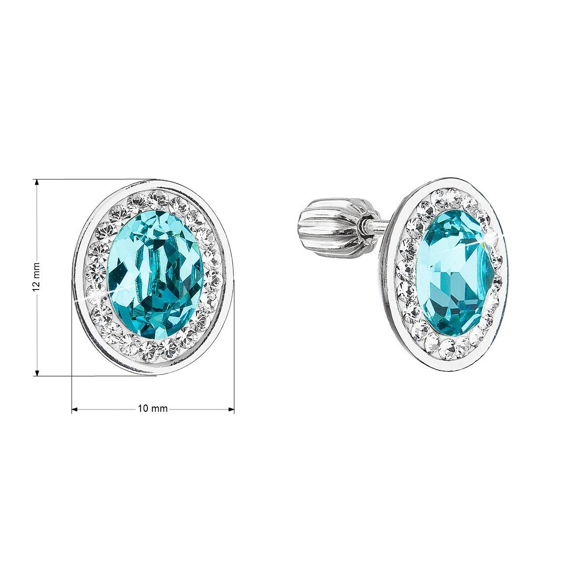 Evolution Group Stříbrné náušnice pecky se Swarovski krystaly modrý oválek 31304.3