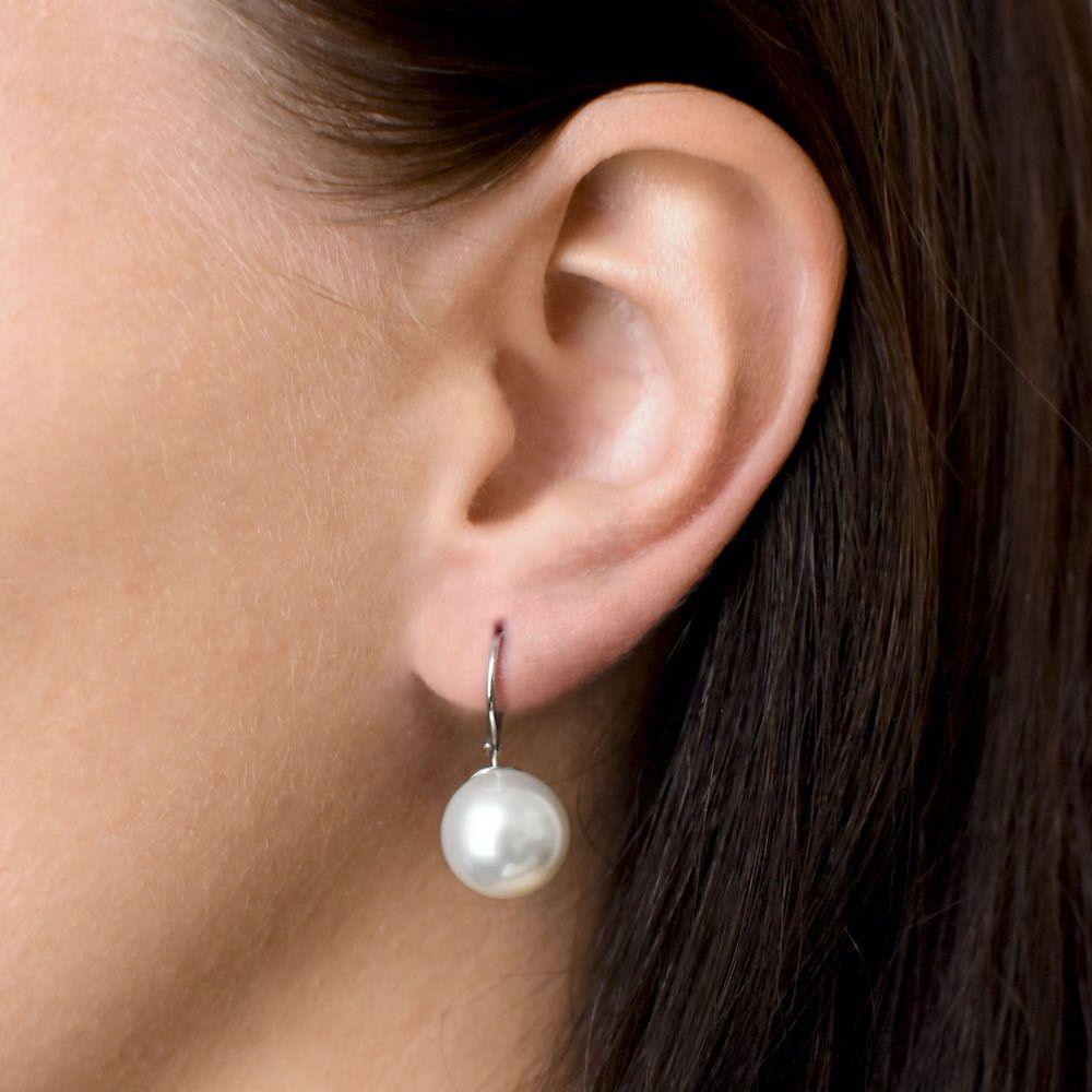 Evolution Group Stříbrné náušnice visací s perlou Swarovski bílé kulaté 31144.1
