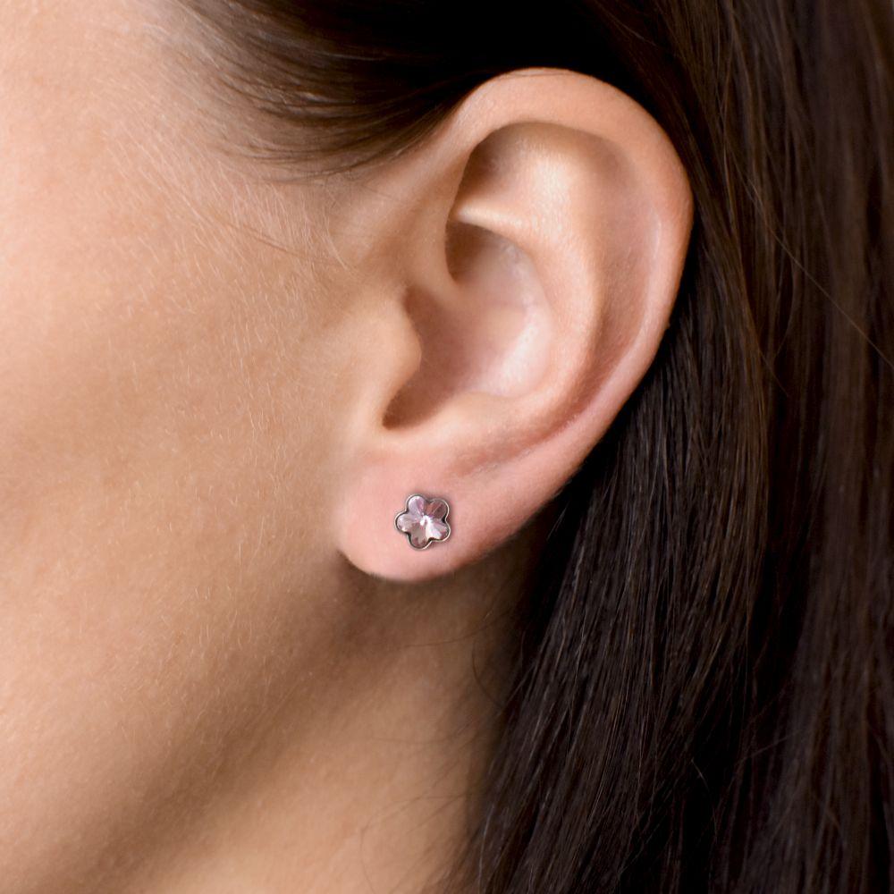 Stříbrné náušnice pecka s krystaly Swarovski růžová kytička 31080.3