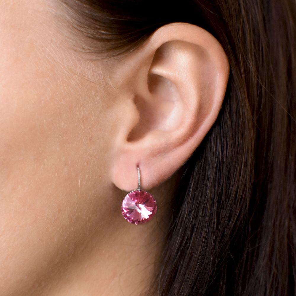 Evolution Group Stříbrné náušnice visací s krystaly Swarovski růžové kulaté 31106.3