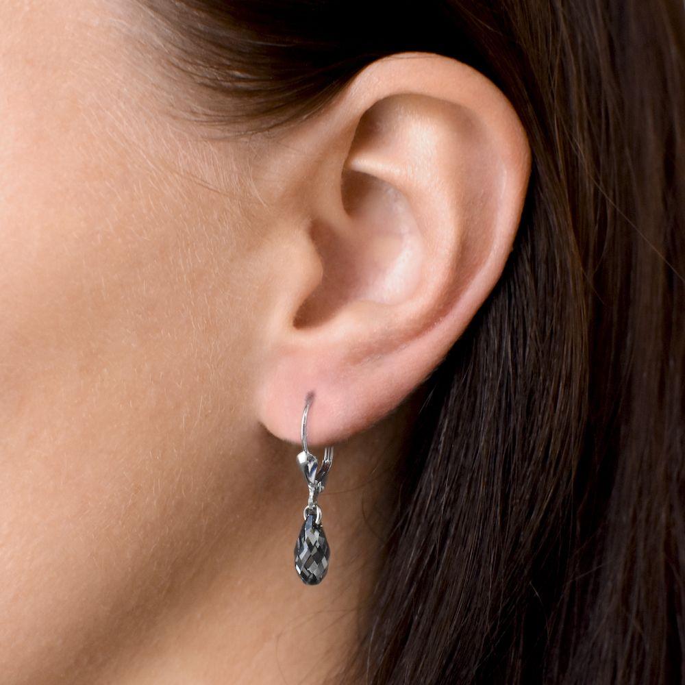 Evolution Group Sada šperků s krystaly Swarovski náušnice a přívěsek šedá slza 39089.5