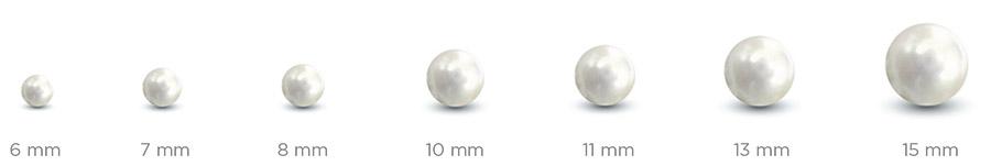 Velikost přírodních perel od 6 do 15mm