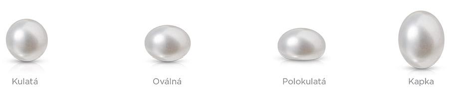 Přírodní perly nejsou dokonale kulaté. Můžou být polokulaté, oválné nebo i kapkovitého tvaru.